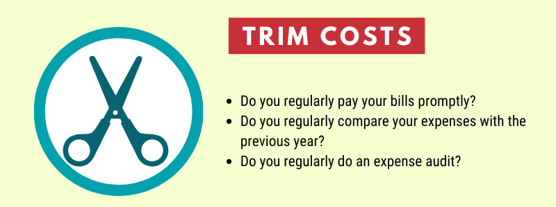Quiz questions about trimming business expenses
